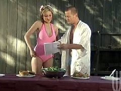Kinky blonde Mindy Main wearing a swimsuit is having fun with some man outdoors. She kneels in front of the stud and sucks his prick till it explodes with cum.