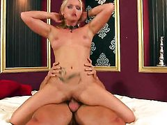 Caty Campbell gets her mouth stretched by thick rock hard sausage of hot dude