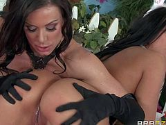 Kendra Lust and Rachel Starr are dangerously sexy in their Easter outfit. Lovely women in stockings admire each others round asses and big boobs. They enjoy pussy licking and play with sex toys in this hot lesbian scene.
