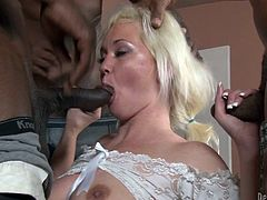 Get a load of this great hardcore scene where the slutty blonde Whitney Grace is gangbanged by horny fellas that leave her out of breath.