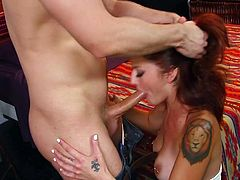 Redhead feels great with a big cock stimulating her pussy in doggy style