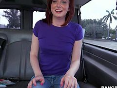 Emma Evins is a shy looking girl next door. This pale skinned tender redhead finds herself in the backseat of our Bang Bus going topless for the camera. Small titty girl removes her bra and shows her soft pink nipples!