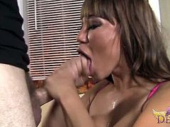 Check out sexy asian milf Ava Devine involved into some action with a meaty cock. She gets on her knees immediately to deepthroat it like a real blowjob goddess.
