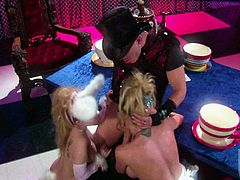 Aiden Starr and Stormy Daniels wearing miniskirts are having FFM sex indoors. The blondes give a blowjob to the dude and then lick each other's twats and get them drilled hard.