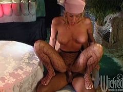 Hot blonde girl has a date with her man. They drink wine in a romantic place. She decides to thank him. So, Nicole gives a blowjob to the guy and then gets fucked in both holes.