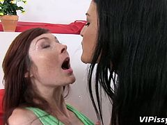 Kinky bitches Nicole and Kattie are pissing on each other
