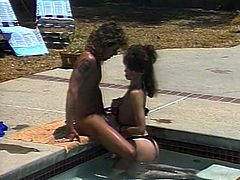 Couple of torrid dark haired lesbies go down on each other licking their wet twats. At the same time their nasty girlfriend gives blowjob to her buddy over the pool.