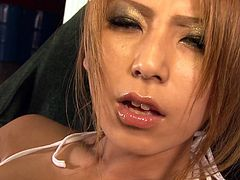 Naughty Japanese nympho Sakura Kiryu finger fucks her pussy like mad