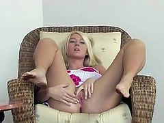 Beautiful Alison Angel shows and massages her juicy boobs. Later on she lies down on a table and rubs her pink pussy.