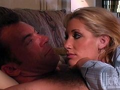 Sexy blonde chick Alexa Ra and her man are having a good time in a bedroom. They fondle and kiss each other and then Alexa gives a hot blowjob tot he dude.