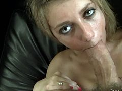 A cock-hungry strumpet gives amazing head and once that hard cock is all wet and dripping with saliva she unclenches her tight asshole to give way to the dude's shaft. Check it out!