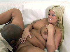 Super curvy blonde mommy is all naked lies on her back while black boy licks her wet tasty cunt. Plumper gives sloppy blowjob and gets her white pussy drilled by big black dick missionary style.