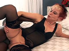 This grandma has a pierced pussy and gets her tight asshole fucked by a big black cock and ends up with a creampie. Check it!