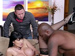 Voluptuous brunette with amazing boobs gets ravished by a big black cock