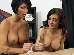 A motherfuckin' slut and her whore mother share a hard cock in this kick-ass blowjob scene right here. Check it out right here!