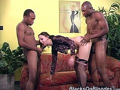 Have a good time watching this brunette babe, with small breasts wearing fishnet stockings, while she goes really hardcore doing a wild threesome.