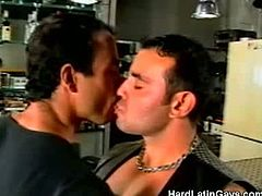 Hard Latin Gays brings you a hell of a free porn video where you can see how three horny muscular leather studs wanna play and misbehave together in the bar.
