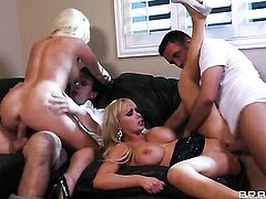 With gigantic melons shows lesbian sex tricks Nikki Benz  Alexis Ford with passion