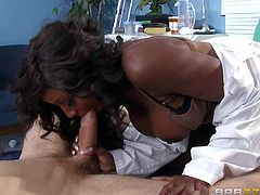 Busty black milf doctor Diamond Jackson loves white dicks so much. Erik Everhard opens his eyes and finds his cock attacked by sex obsessed dark skinned lady doctor. She gives blowjob and then rides on top of his dick!