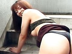 Petite Asian exgf gets rimmed and toyed on a public staircase