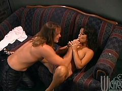 Gorgeous brunette Mason Storm is having fun with some guy indoors. She lets him lick her vagina and sucks his boner and then they bang in cowgirl and other positions.
