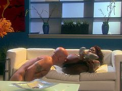 Jada Fire explodes on the screen as she gets on top and rides this white guy's cock then she lets him bust a hot nut all over her face.