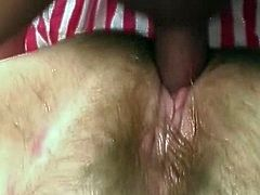 Check her out and enjoy her fatty cunt getting ravaged in rough scene
