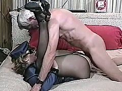Slutty girl in a police uniform has sex with an old guy. The guy licks her hairy pussy and then fucks the chick. She also gets her face cum covered.