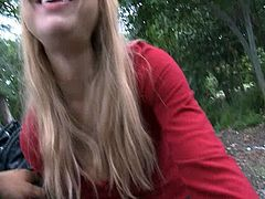 Not his sister sucks him outdoors into her mouth CIM