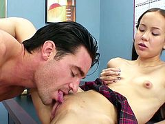 Her wet and tight little cunt gets ravaged during top office fuck