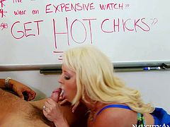 Alura Jenson is a hot big titted milf blonde that seduces her sons rich buddy Danny Mountain to invest in her new enterprise. Her massive heavy tits are her big arguments. She sucks his dick and he licks her pussy!