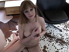 Carmen Gemini spreads her legs to fuck her moist bush with sex toy