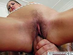 Brunette girl has a wild threesome sex. She gets fucked in her mouth and hairy pussy at the same time by two brutal guys. Mandy also gets her vagina filled with cum.