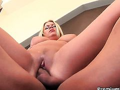 Riley Evans with massive boobs does wild things with hot dude