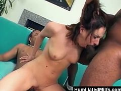 These two black guys are getting a real treat today. A hot slut ready to take their huge dicks in every hole they choose to fuck. She gets double penetrated hard before swallowing their cum like the true whore she is.