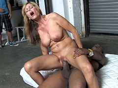 She is such a desirable and gorgeous mommy that loves it black! She gives a hard and smooth blowjob and rides him! Such a porn!