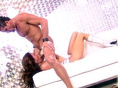 Sizzling Kirsten Price poses in a glamorous dress and gives a blowjob to a dude in leather pants. Then this hottie gets fucked in her mouth and pussy.
