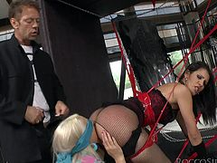 Make sure you have a look at this hardcore scene where these hotties share this guy's large cock in a threesome after a hot bondage moment.