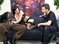 Lexington Steele meets Veruca James and her husband. She's not sexually satisfied, so Lexington lets her ride his monster cock while her husband watches them.