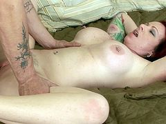 Tattooed wife with big boobs filmed while having rough sex