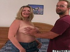 Busty blonde mom Evelynn gives a blowjob to some dude and lets him play with her huge natural tits. Then they fuck in missionary position and doggy style and enjoy it much.