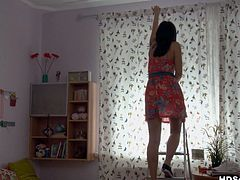 Filthy bitch in short dress goes to fix the curtans and the guy sees her underwear and induce. Than he offers her to go to the bed. She sucks the dick and he licks her cunt and then they bang in WTF Pass xxx video.