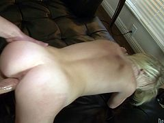 A fuckin' nasty-ass slut sucks on this dude's hard cock and gets it shoved balls deep into her fuckin' gash, check it out right here!