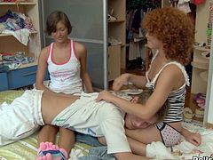 Red head slutty bim rests on chair and gets hardcore penis penetration meanwhile gives awesome pussy eating to her kinky kooky which rests on her face. Watch this amazing 3some loping in WTF Pass porn clip!