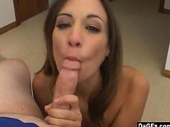 This young brunette slut is just thrilled about sucking cocks. She likes to do it very much. Enjoy this hot video featuring her giving head and getting jizz on her face.