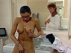 Raven haired seductive whore with big Tatas lied in bed with her legs stretched aside. Her blond filthy kooky employed big sex toy to please that throbbing vagina. Watch this zealous babes in The Classic Porn sex video!