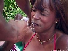 Make sure you take a look at this hardcore outdoors scene where a smoking hot ebony milf gets nailed by a big cock until her face's covered by cum.