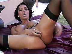 Dylan Ryder with juicy boobs and hairless pussy dildoing her wet hole