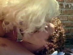 Brazen brunette MILF talks on the phone and rubs her moist hairy cunt. Later one torrid blondie meets her boy over the pool and starts blowing his cock.