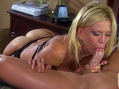 Such a sexy blond milf is about to bite that cock off! She is so good at cock sucking and then her man penetrates her beaver so hard.